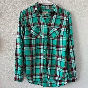 Merona Plaid Teal Button Down Shirt, XS